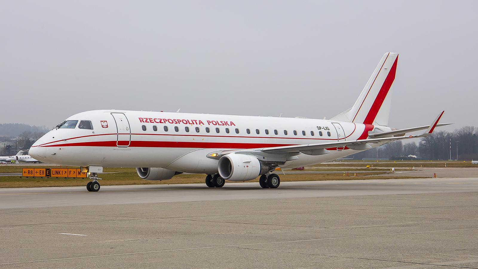 SP-LIG, Embraer 170LR der Regierung Polens. Die Maschine ist bei LOT geleast.