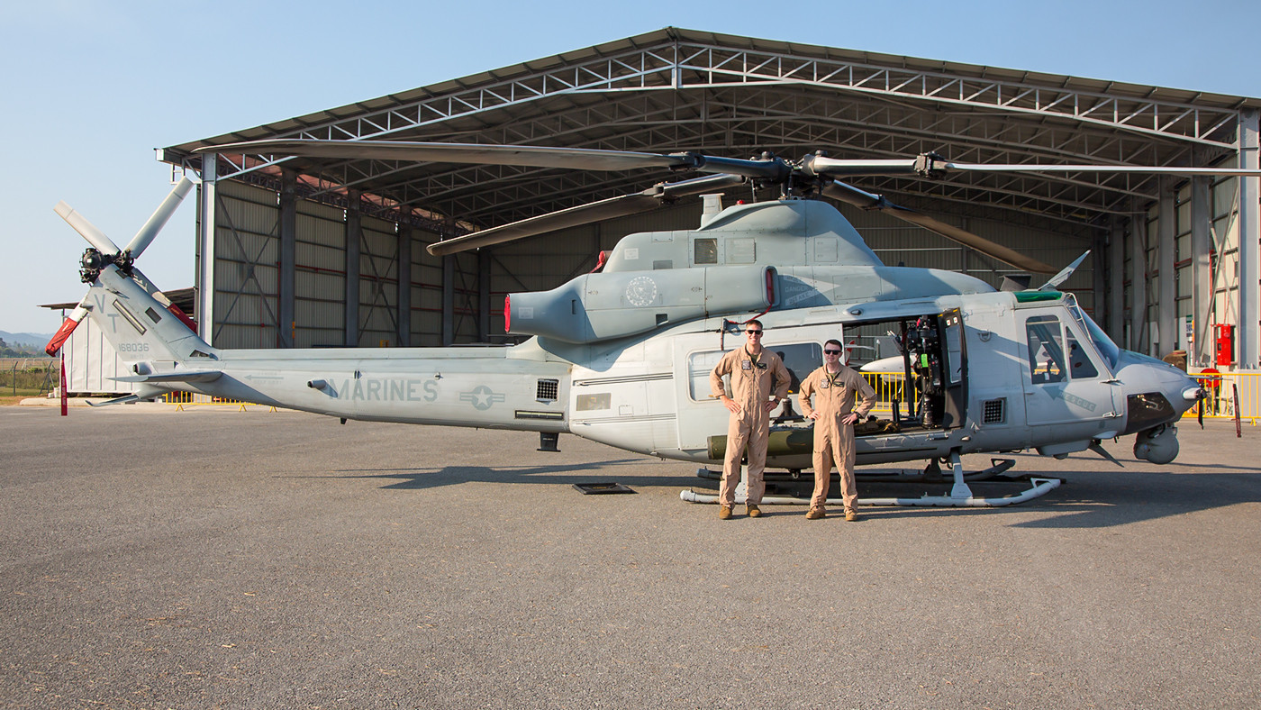 Diese UH-1Y des USMC wurde am Vorabend mit einer C-17 aus Hawaii gebracht.
