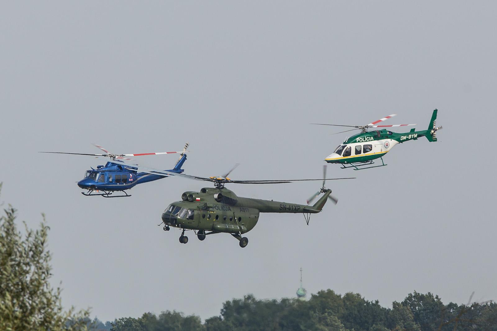 Drei Länder, drei Polizeien; Bell 429 aus der Slovakei, Mil Mi-8 aus Polen und eine Bell 412 aus Tschechien.