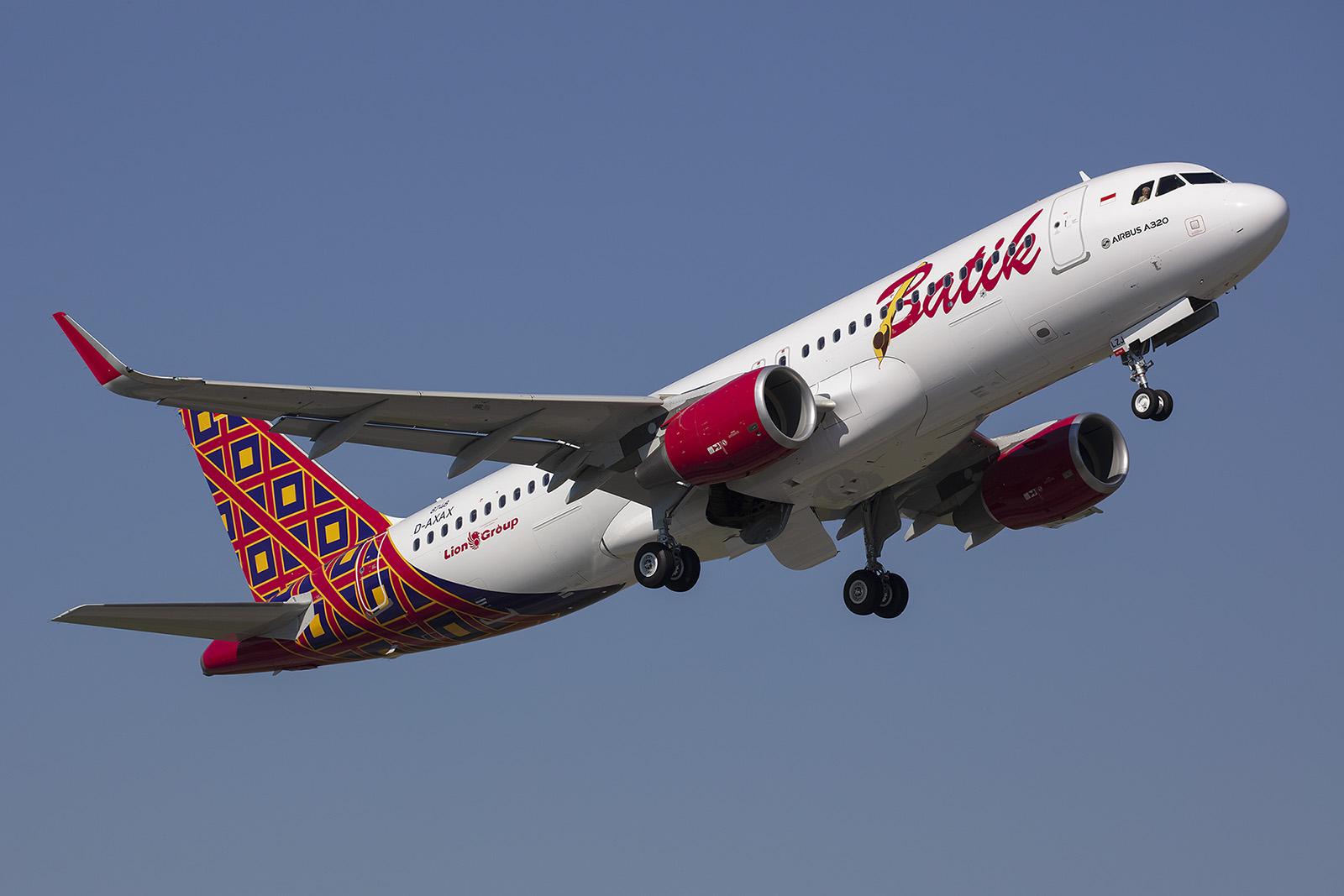 Batik Air gehört zur Lion Group in Südostasien. Dieser A 320 wird später in Indonesien beheimatet sein.