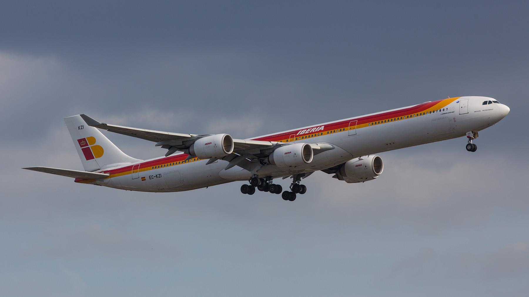 Der Abendflug der Iberia ist jeden Tag ein A 340-600.
