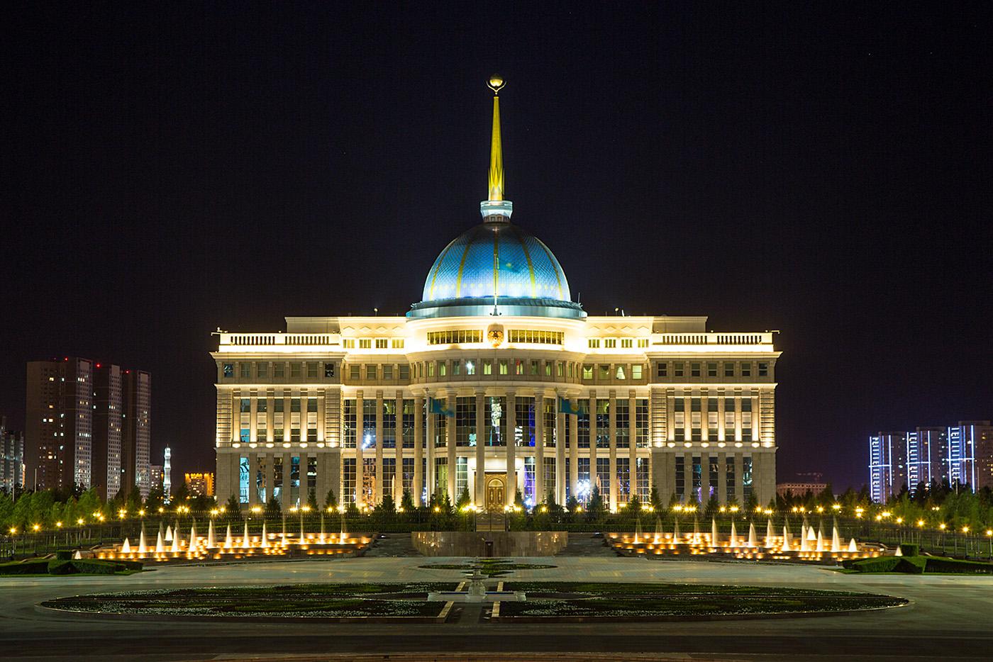 Ak-Orda Palast, Amtssitz des Präsidenten.