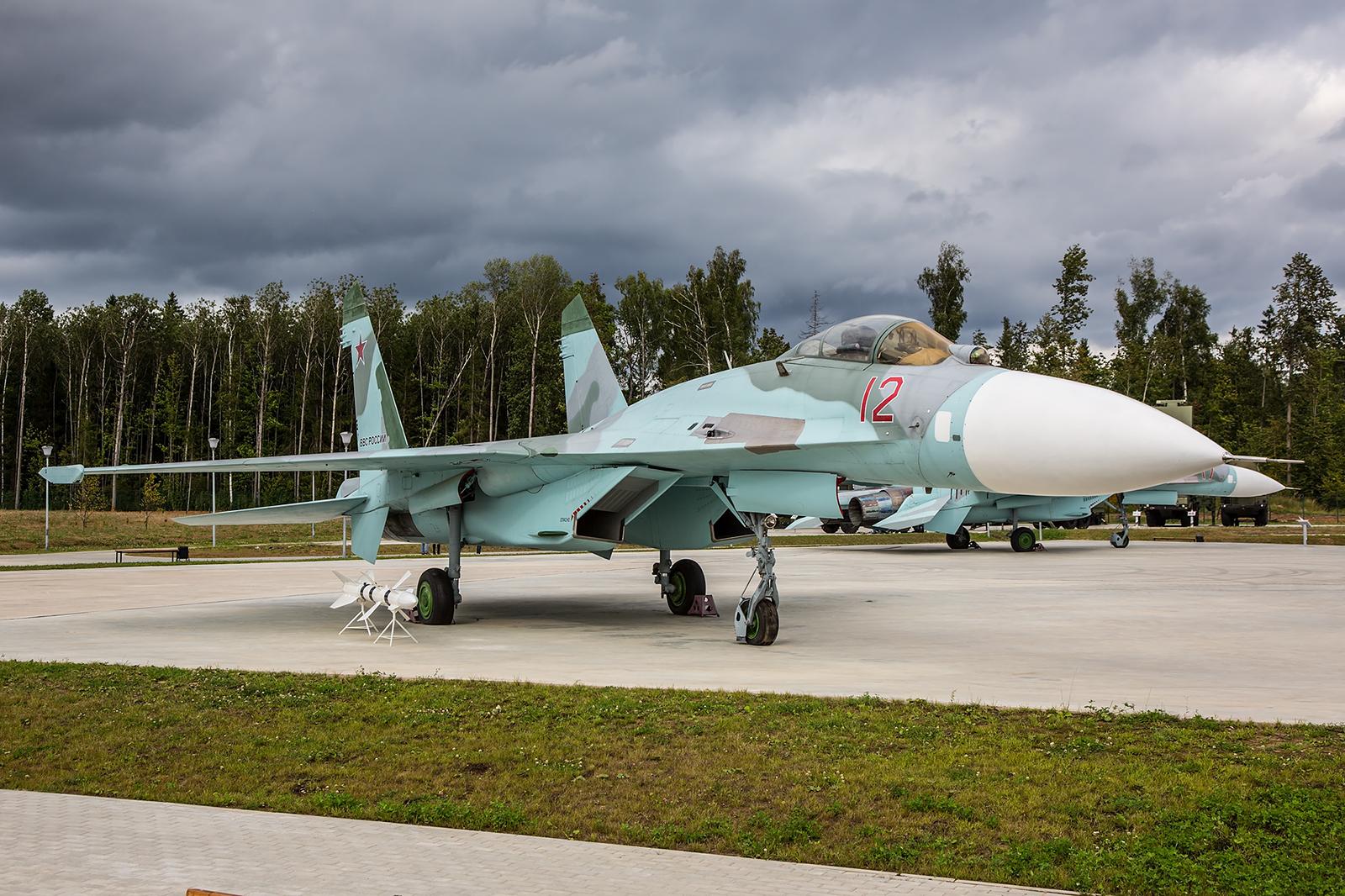 Das Mehrzweckkampfflugzeug Sukhoi Su-27P.