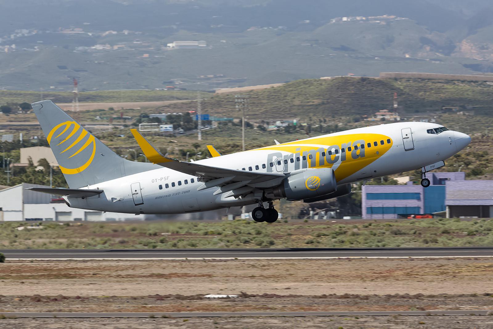 Der dänische Ferienflieger Primera betreibt u.a. diese Boeing 737-7C8, die vorher schon in Afrika und Südamerika im Einsatz war.