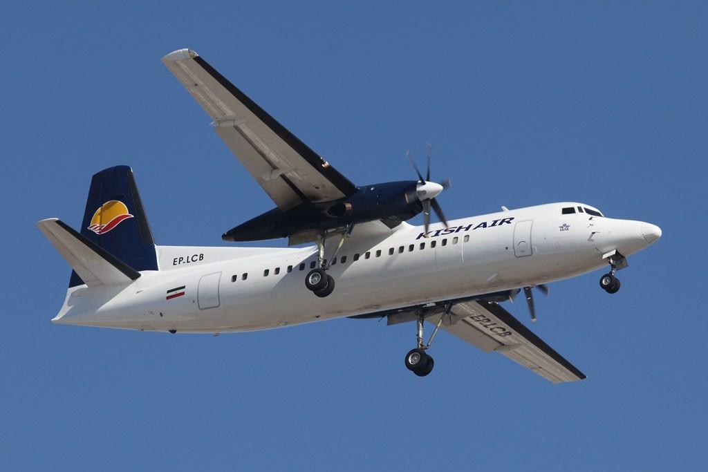 Fokker 50 der Kish Air. Sie flog in den 1990´er auch mal regelmäßig Kopenhagen an.