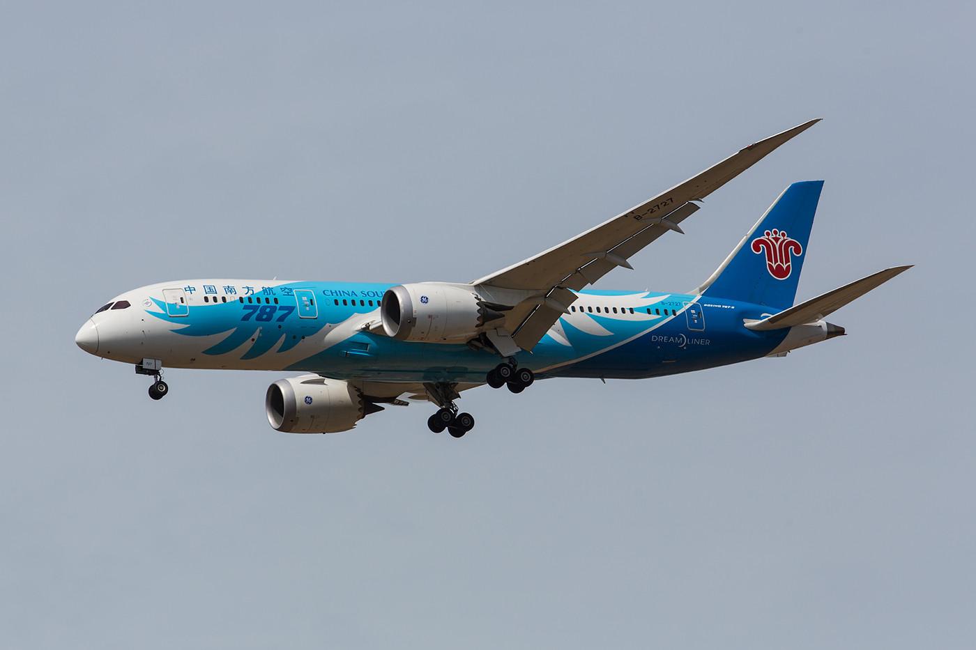 Gegen 14:30 Uhr kommt täglich ein Dreamliner der China Southern aus Guangzhou.