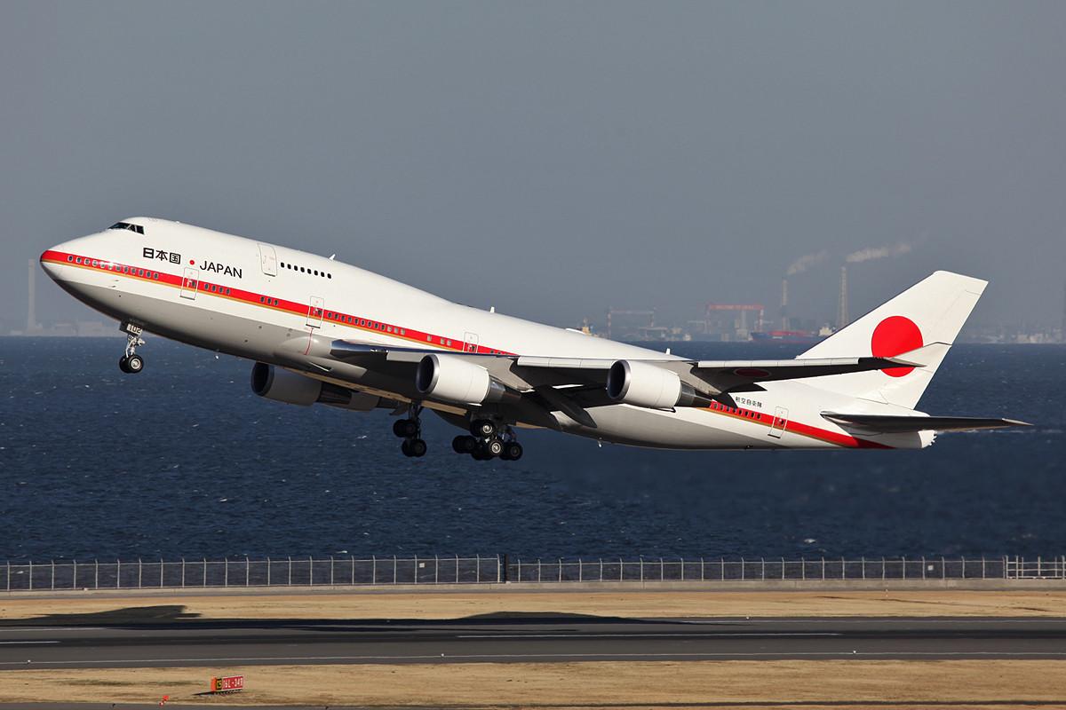 Boeing 747 der JASDF nach der Rückkher von MP Abe aus Washington