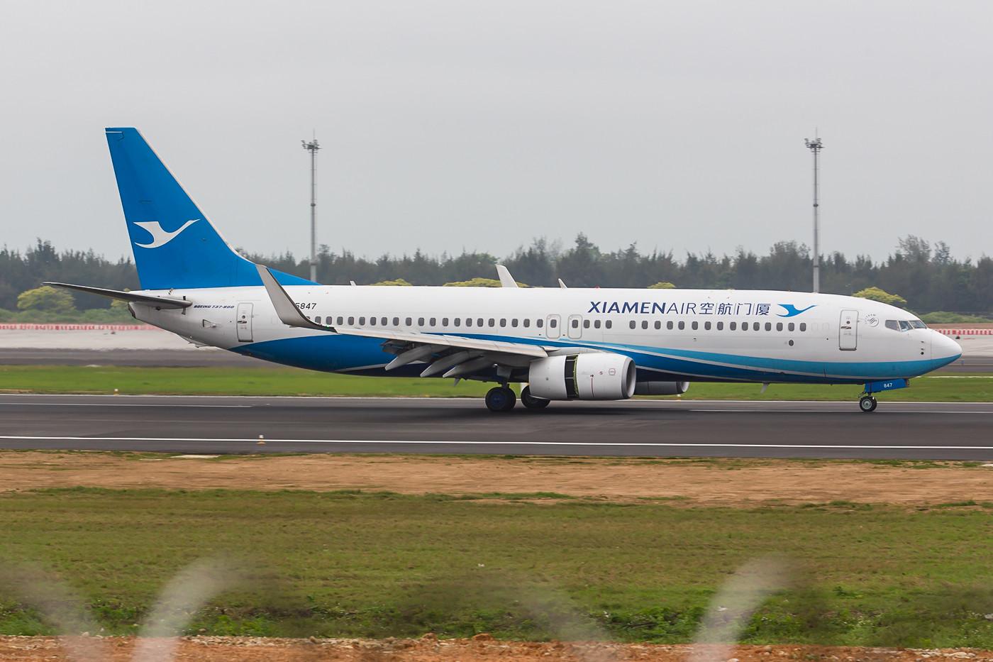 Boeing 737-800 der Xiamenair in den neuen Farben.