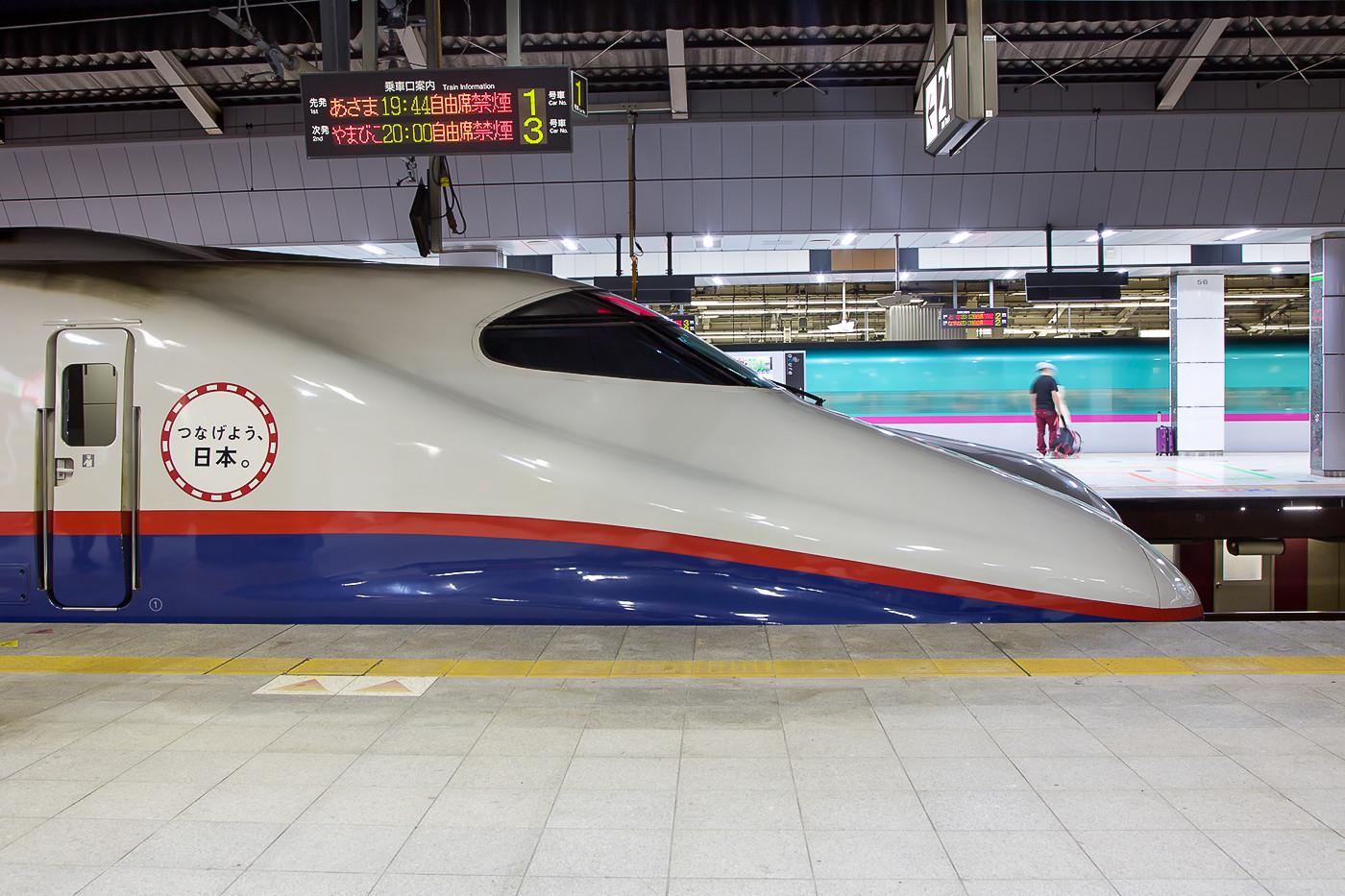 Zug der Baureihe E2 in Tokyo. Die Züge fahren als 8-Wagenvarianteauf der Strecke nach Nagano.