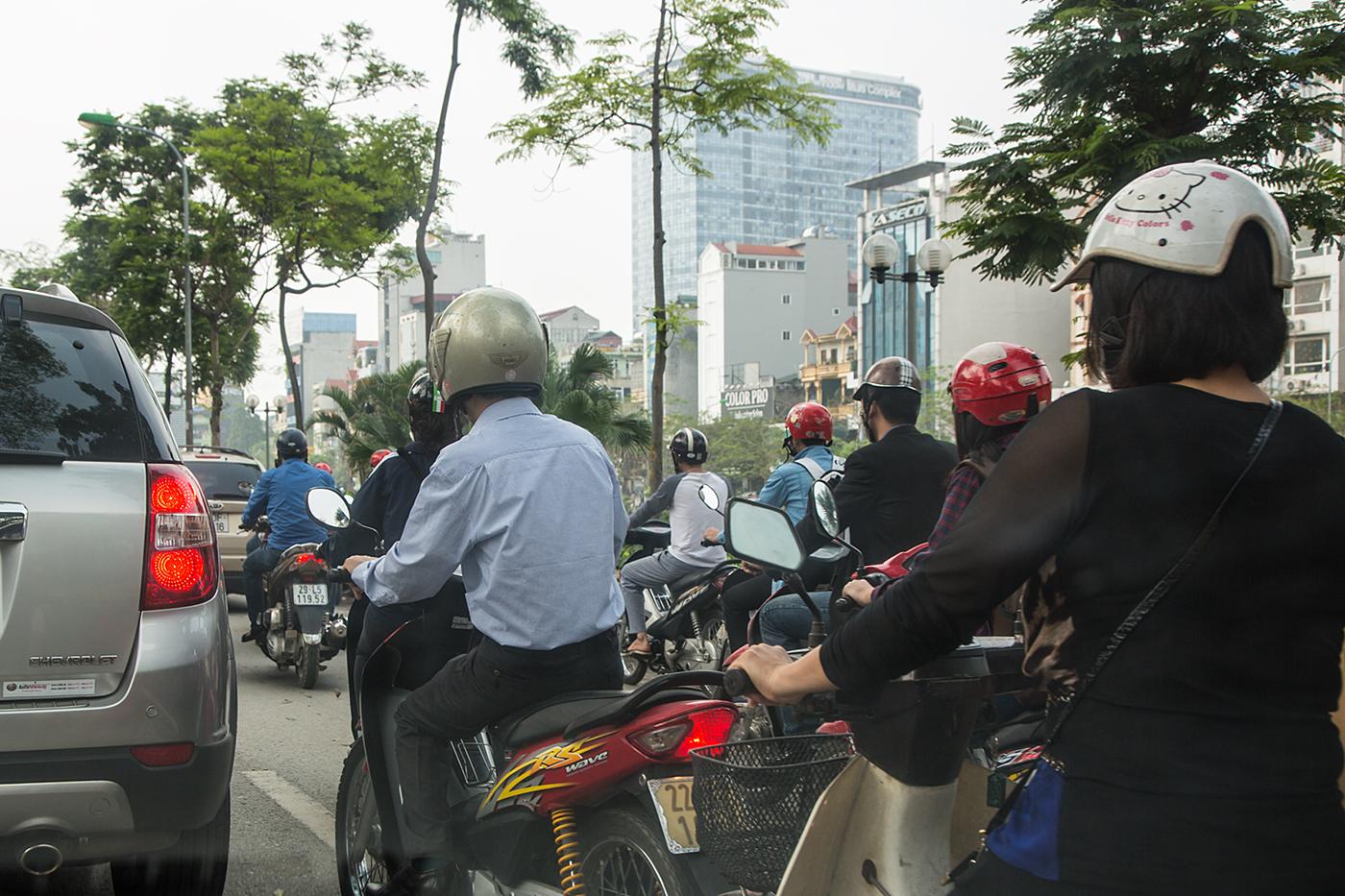 Das tägliche Chaos auf Hanoi´s Straßen.