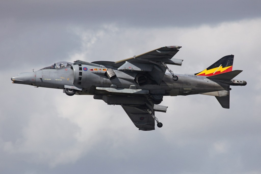 Ein Harrier GR.9 im Display.