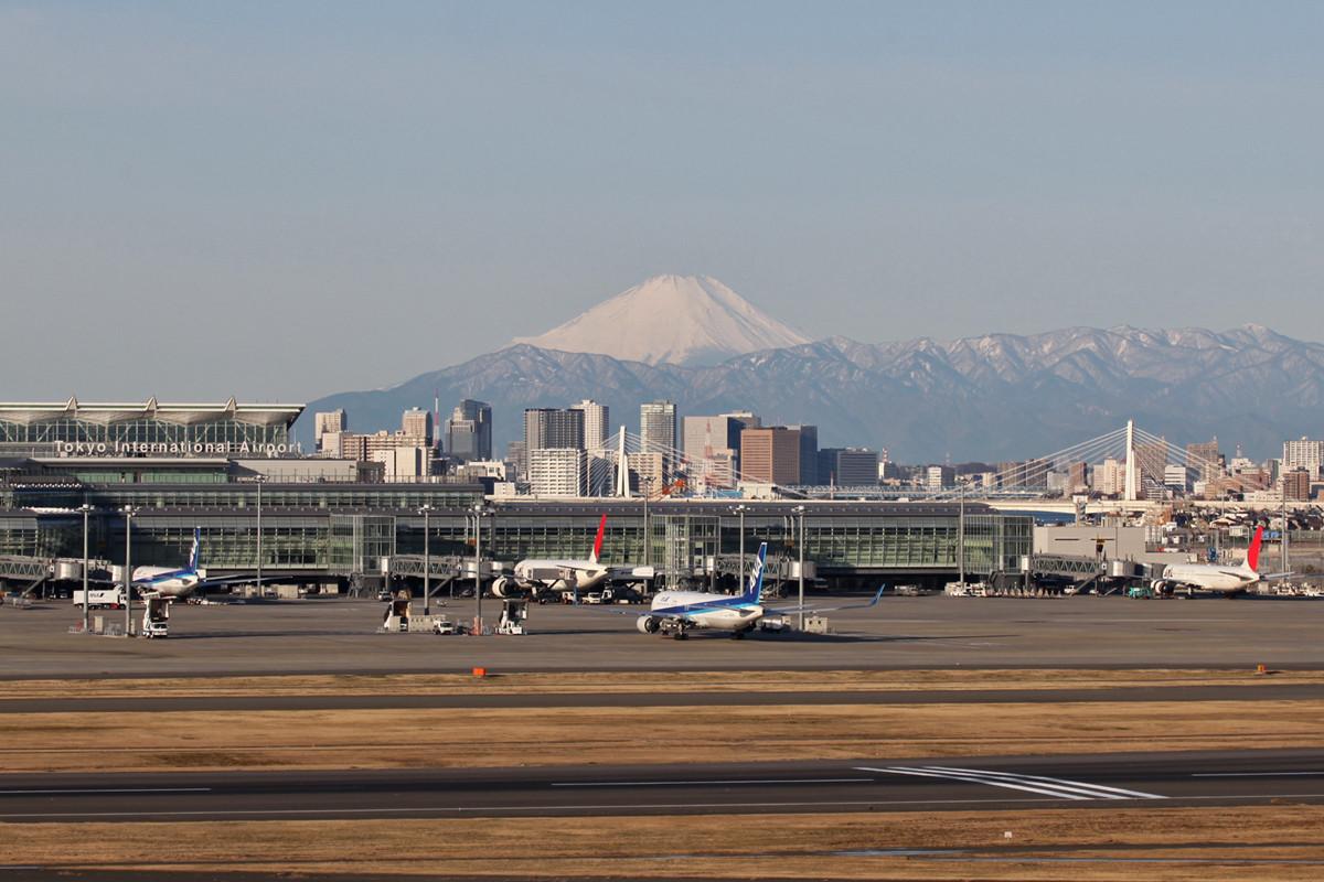Der Fuji von der Terrasse des Terminal 2.
