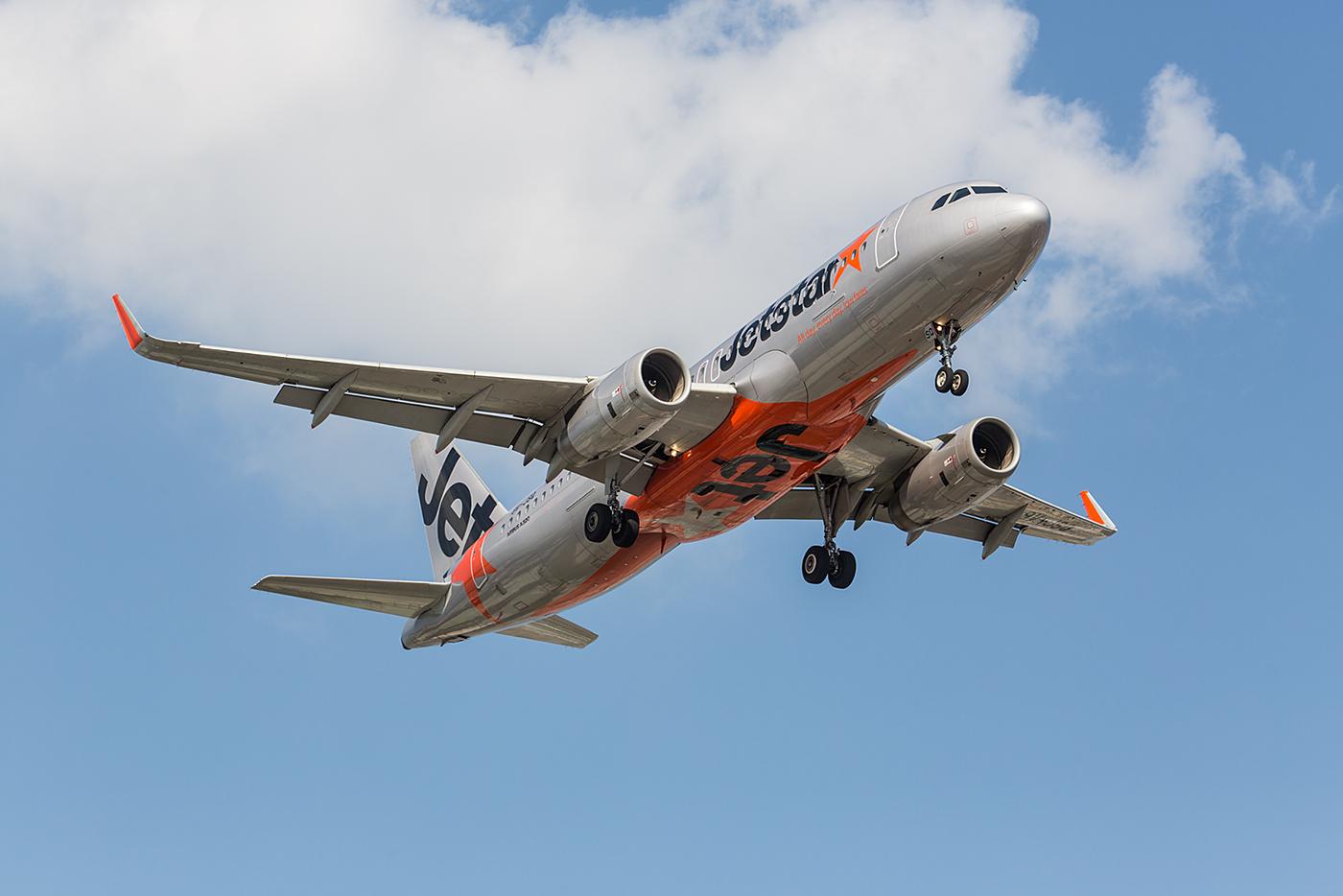 Jetstar A320 aus Singapur. Die Jetstargruppe gehört eigentlich zur australischen Qantas.