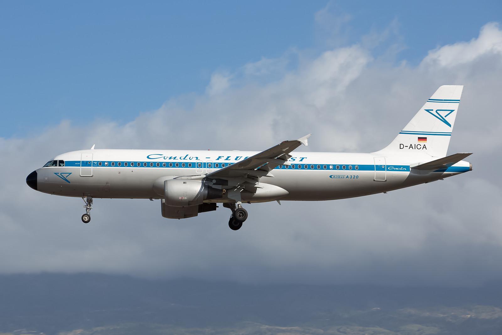 D-AICA, der Airbus 320-212 ist derzeit als Condor-Retrojet unterwegs.