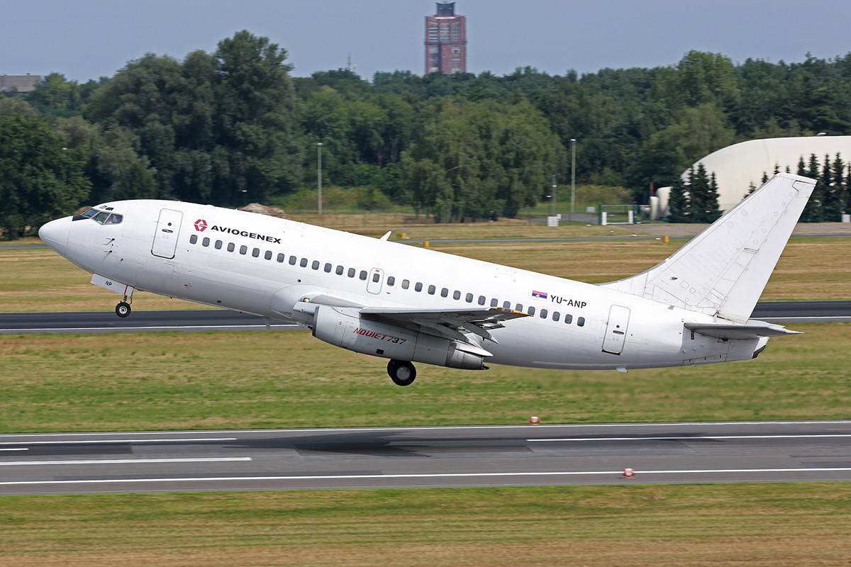 Das erste Highlight des Tages, Europas ewinzig verbliebene Boeing 737-200.