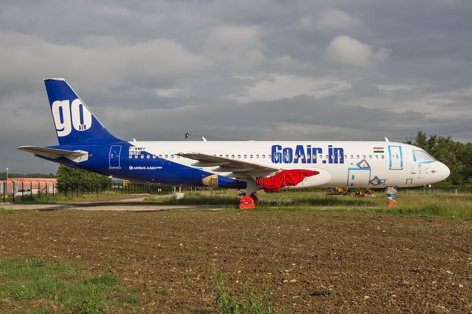 Eine der vielen halbfertigen A320NEO für Indien, die aufgrund der Triebwerksprobleme nicht abgenommen wurden.