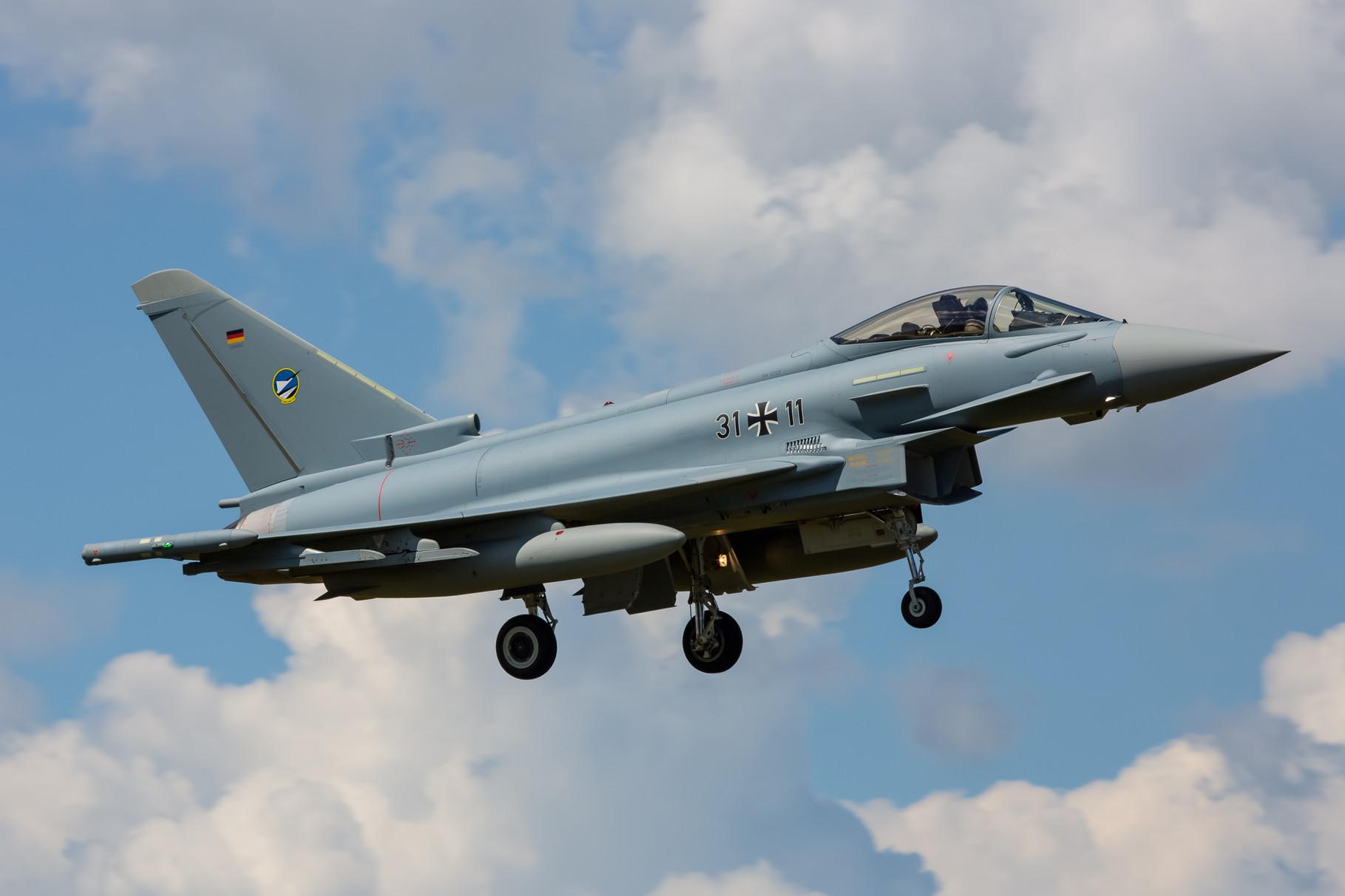 Deutscher Eurofighter nach der Vormittagsmission