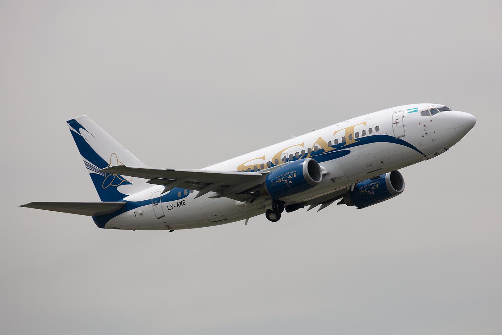 SCAT Air Boeing 737-522, die 25 Jahre alte Maschine stammt ursprünglich von United Airlines.