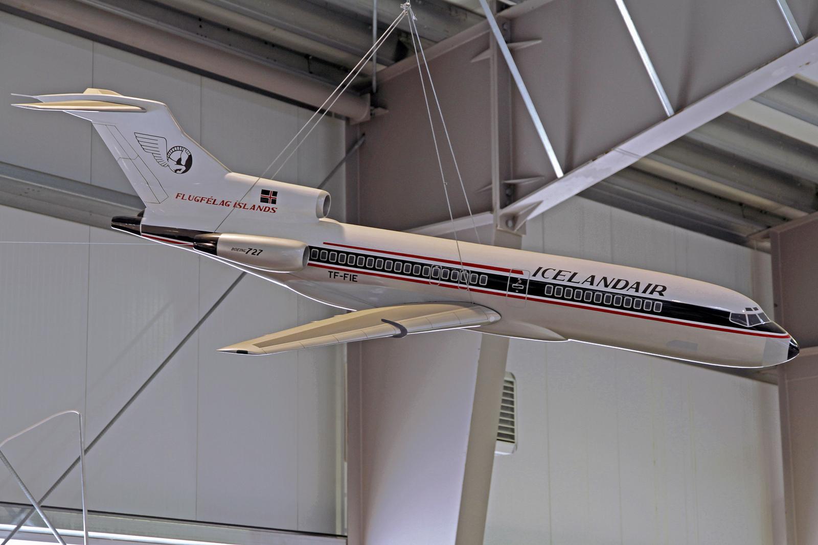 """Modell der früheren Icelandair Boeing 727-108C TF-FIE """"Gullfaxi"""", AEY, 14. August 2020"""