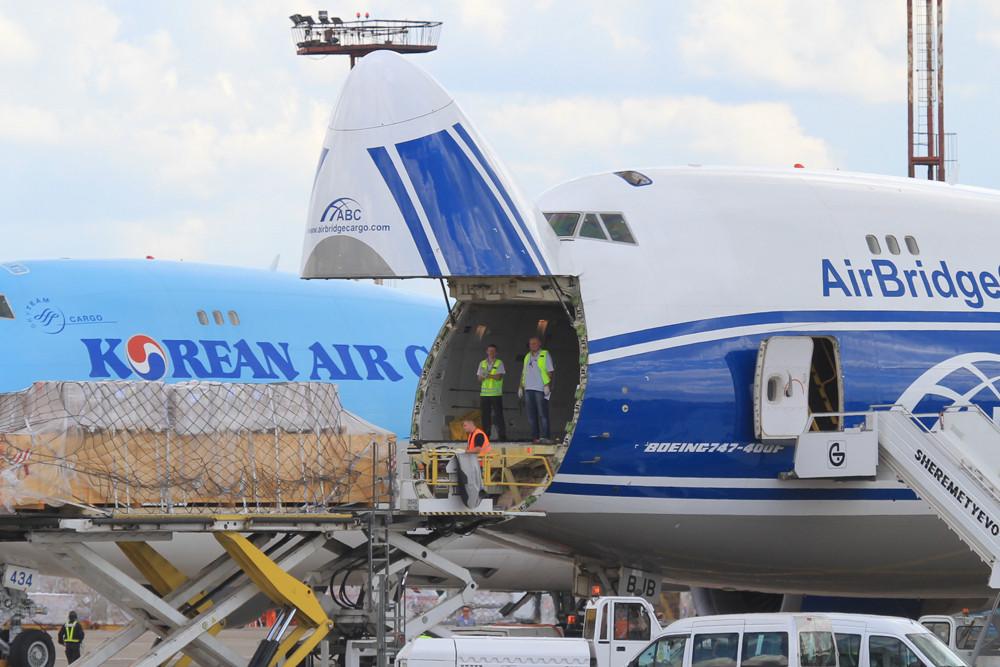 Beoing 747-Frachter der Air Bridge Cargo, einem Tochterunternehmen der Volga-Dnepr-Group