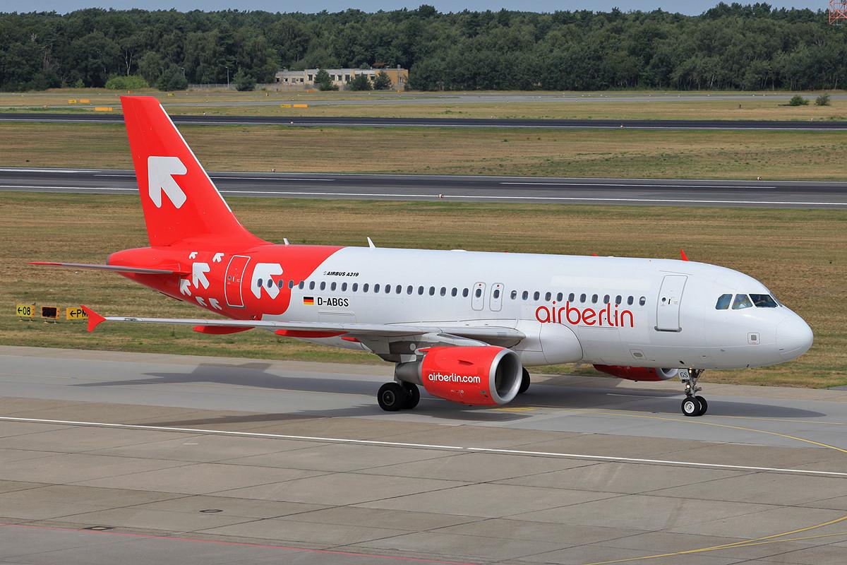 Einer von drei ehemaligen Airbussen der OLT Express heißt nun D-ABGS bei Air Berlin.
