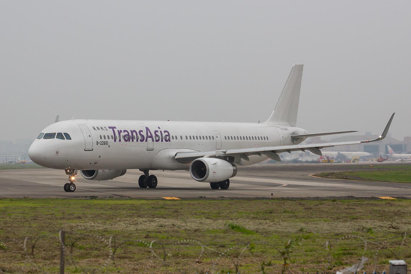 Neuer A 321 der Transasia noch ohne Farbkleid.