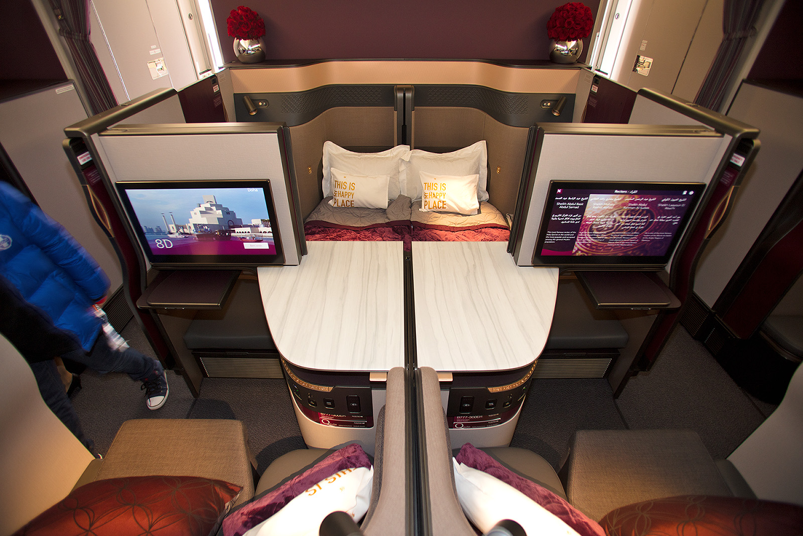 Die Business Class in der Boeing 777 von Qatar Airways.