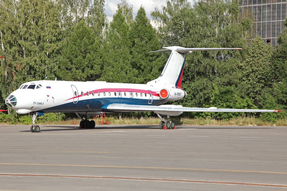 Diese ehemalige Aerorent TU-134 steht ebenfalls in Vnukovo.