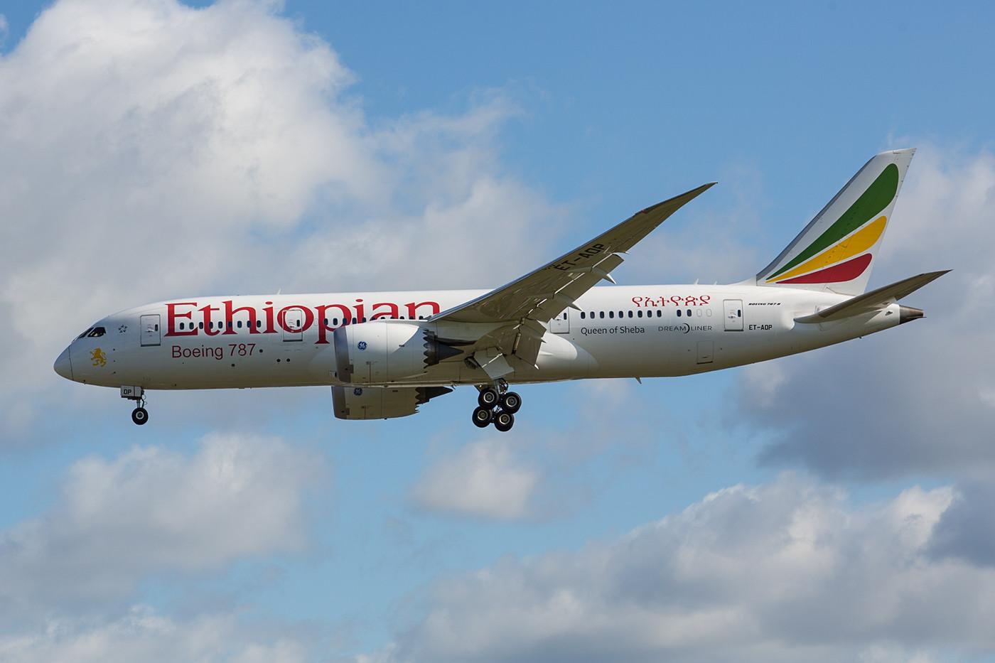Ebenfalls täglich fliegt Ethiopian Airlines mit der Boeing 787 nach London.
