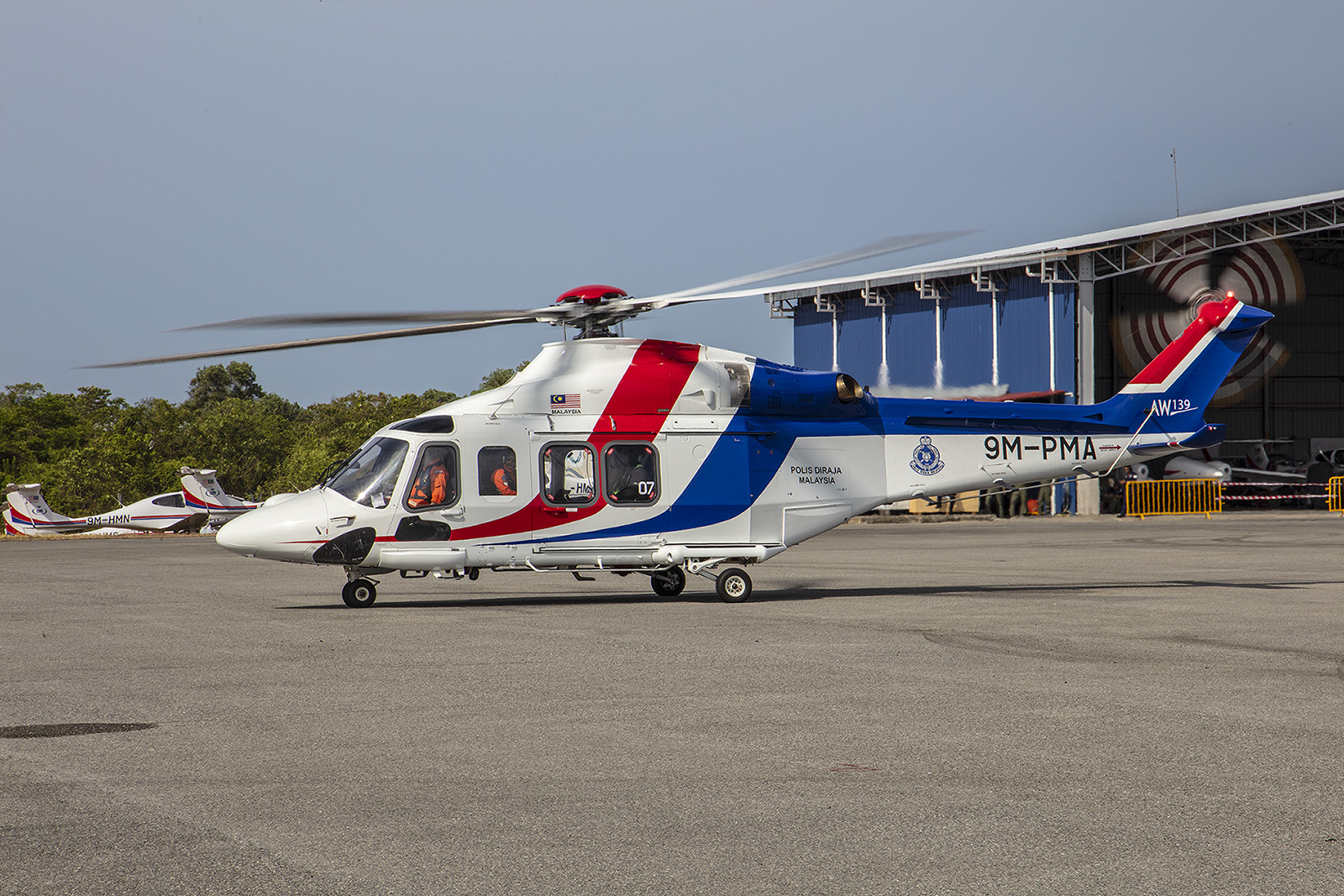 Sehr beliebt in Malaysia sind die Agusta/Westland AW139, hier eine der Polizei.