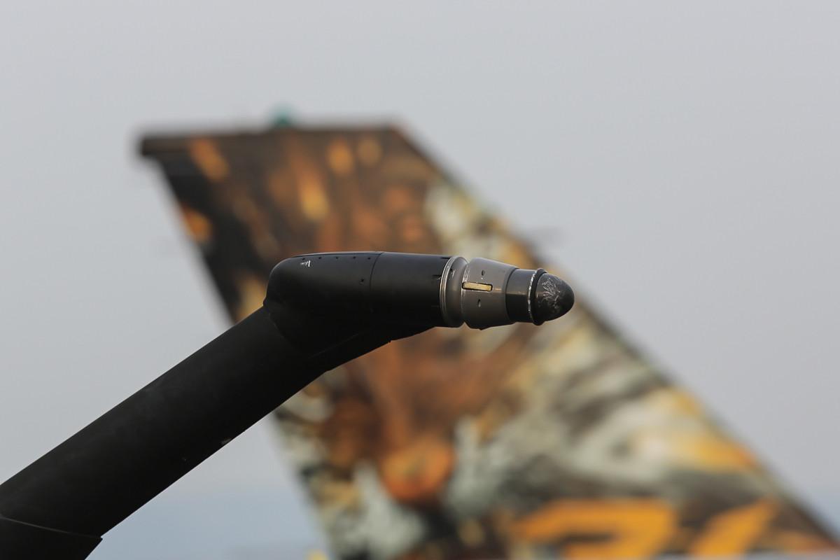 Hinter dem Tankstutzen der Mirage, der belgische Tiger.