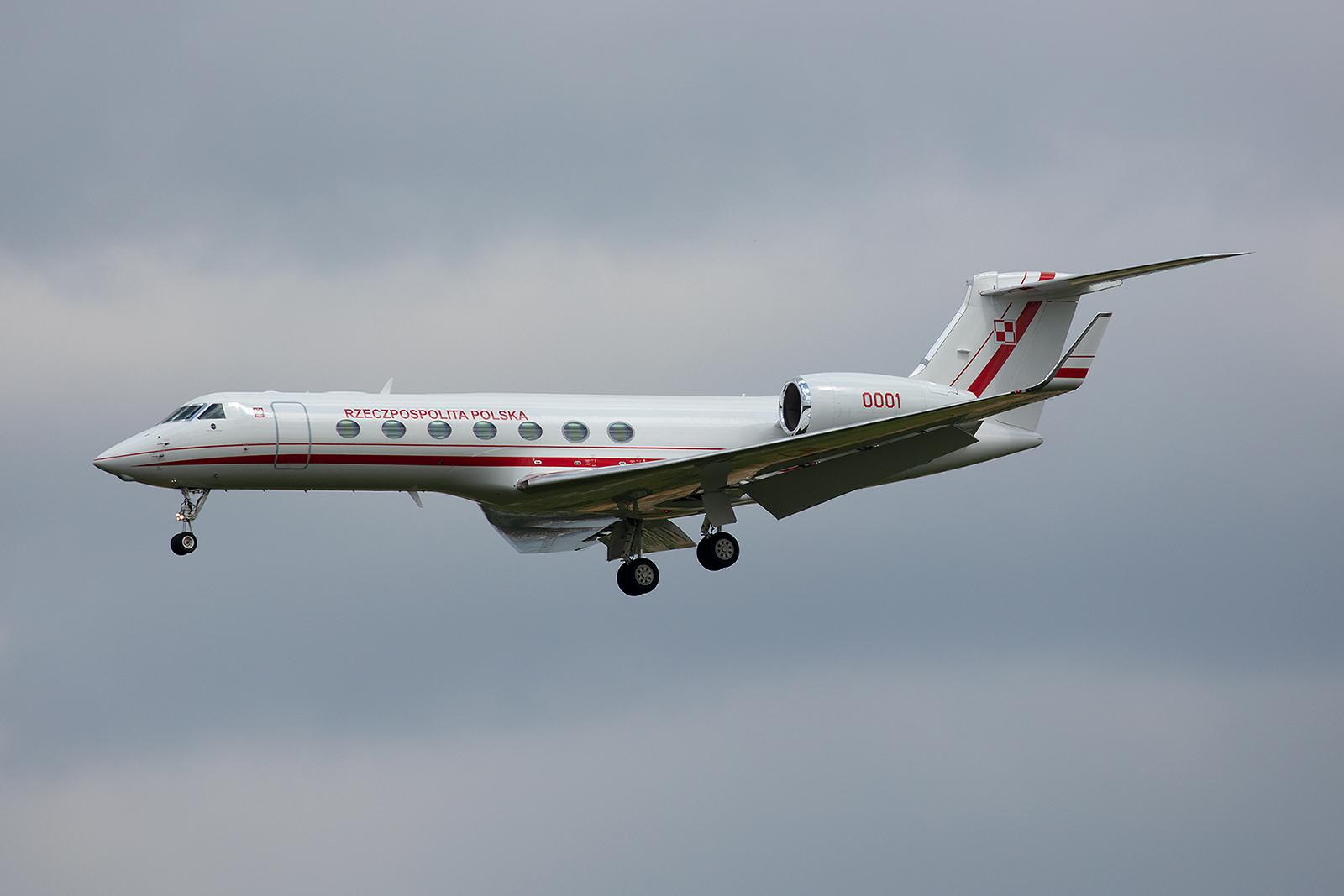 Diese Gulfstream G550 mit dem Kenner 0001 ist seit 2017 der neue Polinische Regierungsjet.