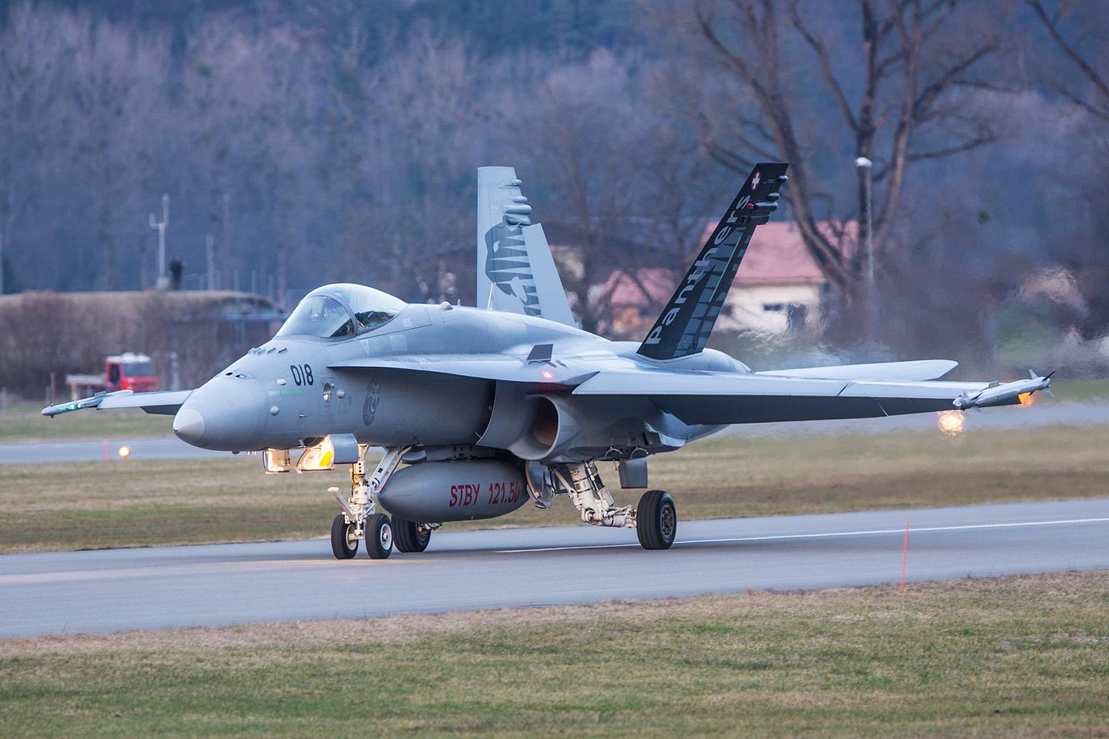 "Hornet in der Sonderbemalung der Fliegerstaffel 18 ""Panthers""."