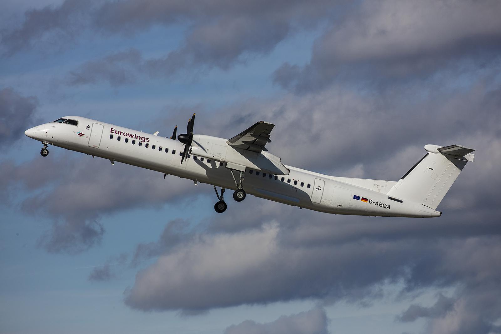 Die D-ABQA der LGW ist heute für Eurowings unterwegs. Früher war LGW Partner der Air Berlin.