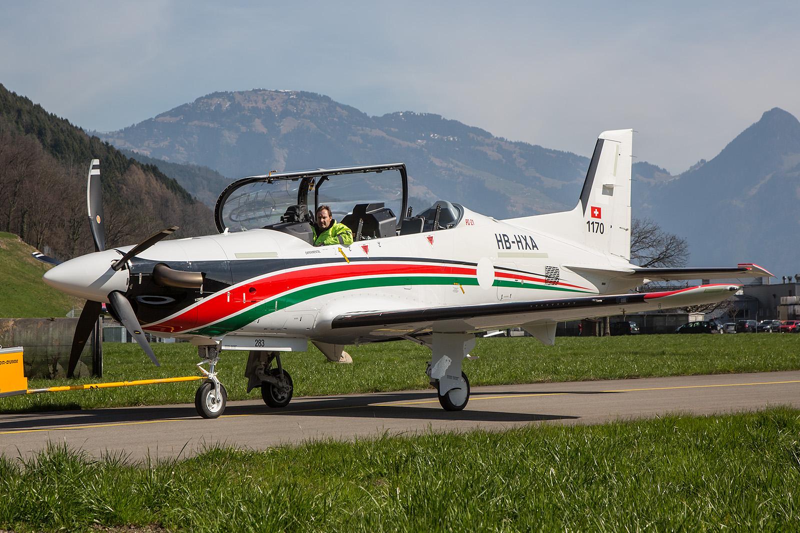 Die erste PC-21 für die Royal Jordanian Air Force nach einem Triebwerkstest.