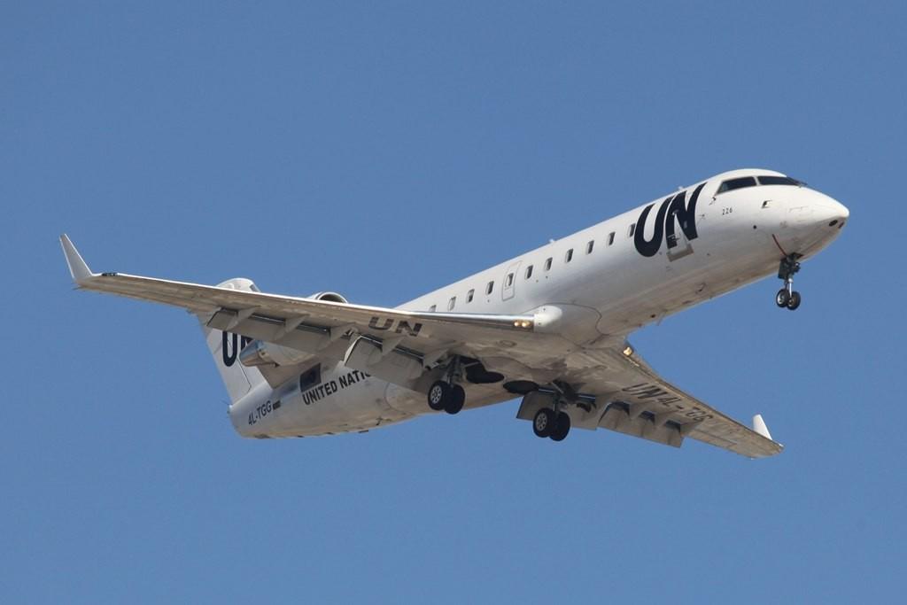 Aus Georgian stammt dieser CRJ 200, der momentan für die UN im Einsatz ist.