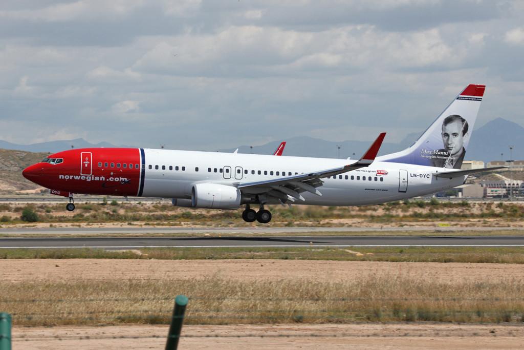 Auch hier fliegen die Boeing 737 der Norwegian.