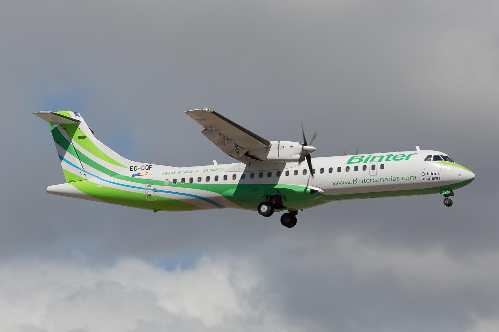 Zwischen den Kanarischen Inseln betreibt Binter Canarias ein dichtes Netz von Domesticflights mit ATR-72, hier die EC-GQF.