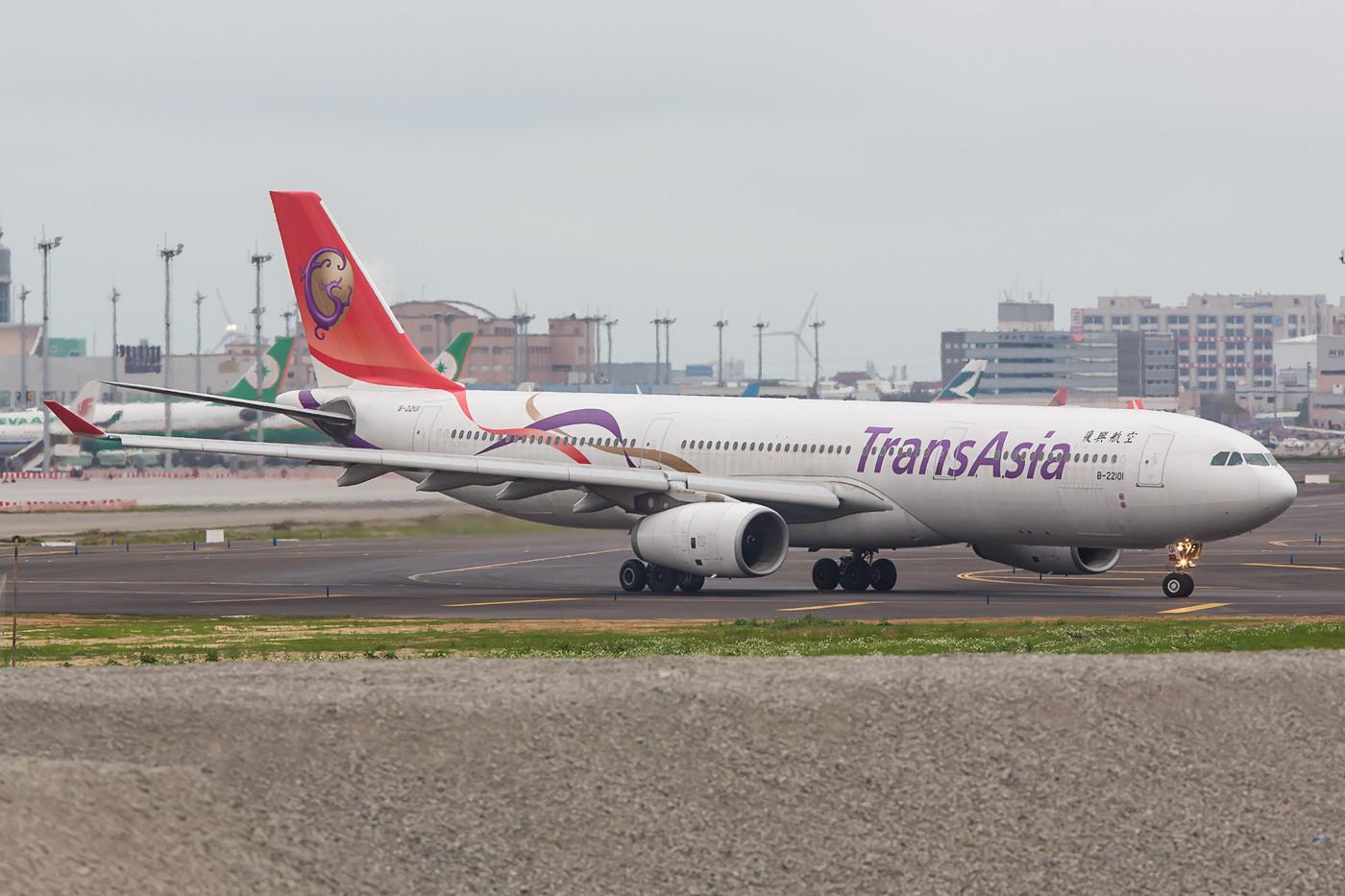 Der letzte Flieger aus Taoyuan soll dieser A 330 der Transasia sein.