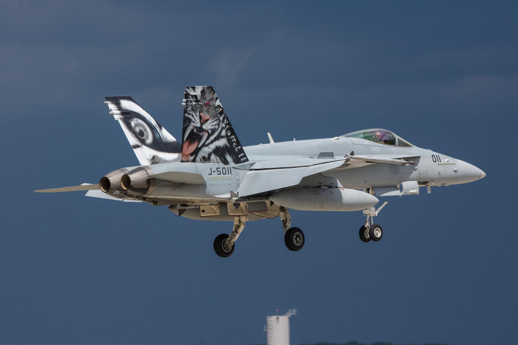 Aus Meiringen in der Zentralschweiz kommt diese F-18 der Fliegerstaffel 11