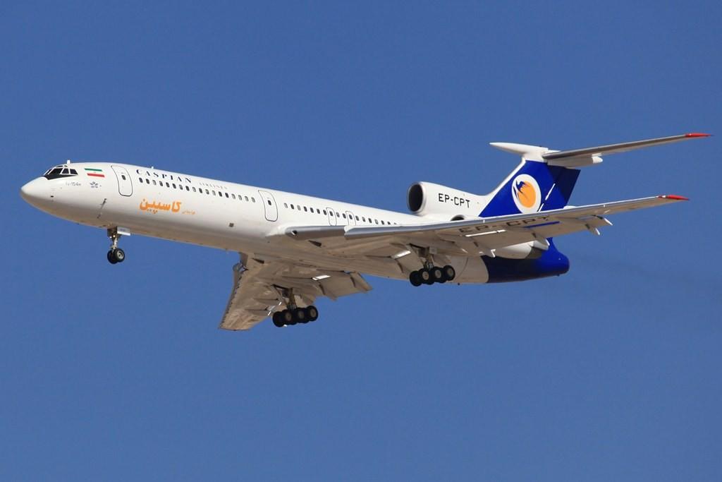 Caspiab Airlines auf einem ihrer letzten Flüge mit der Tupolev TU 154. Nach mehreren Zwischenfällen mit diesem Typ erhielten die Maschienen im Iran Flugverbot.