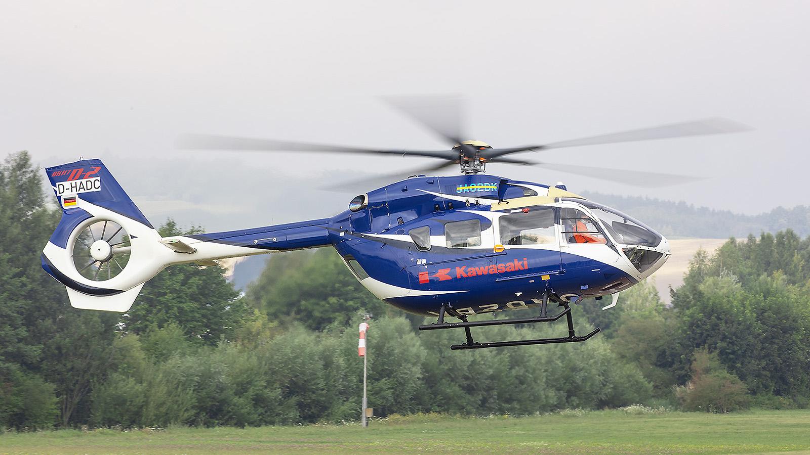 Das Highlight des Jahres in Donauwörth die japanische BK-117D3 mit überklebter Registrierung
