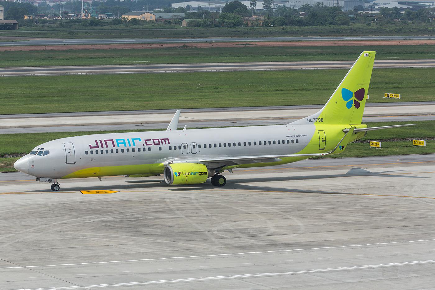 Jinair brachte es wirklich fertig, jeden Tag den gleichen Flieger zu schicken, diese Boeing 737-800.