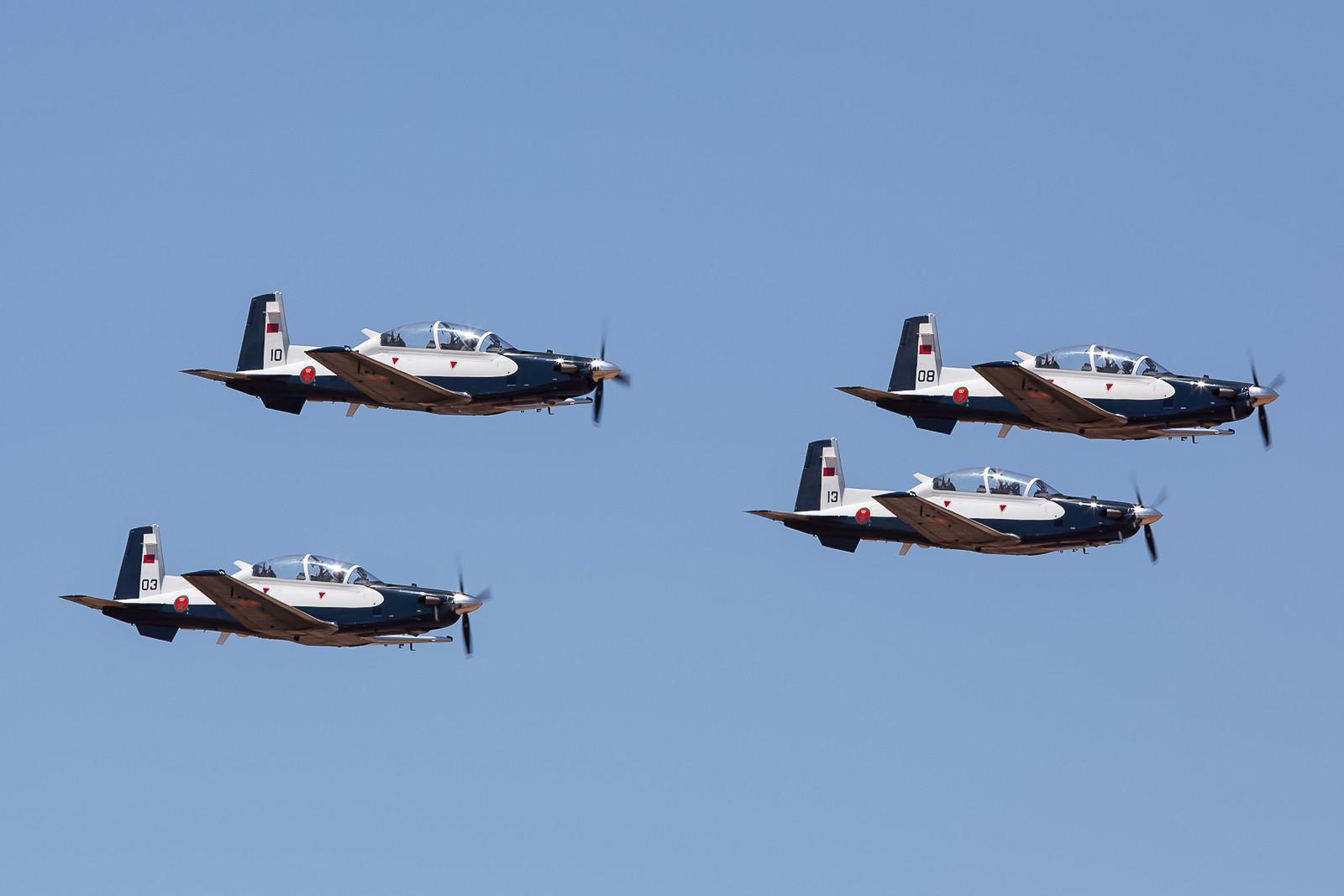 Die erste Formation waren vier T-6G Texan II der Ecole de Pilotage aus Menara.