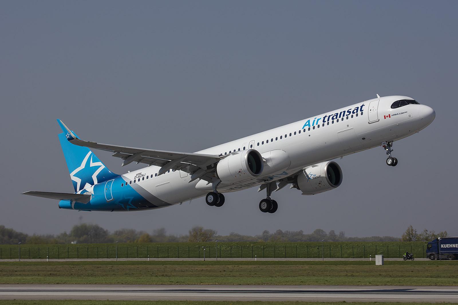 Der erste A 321NX für Air Transat mit dem dies dann auch Transatlantikflüge durchführen will.