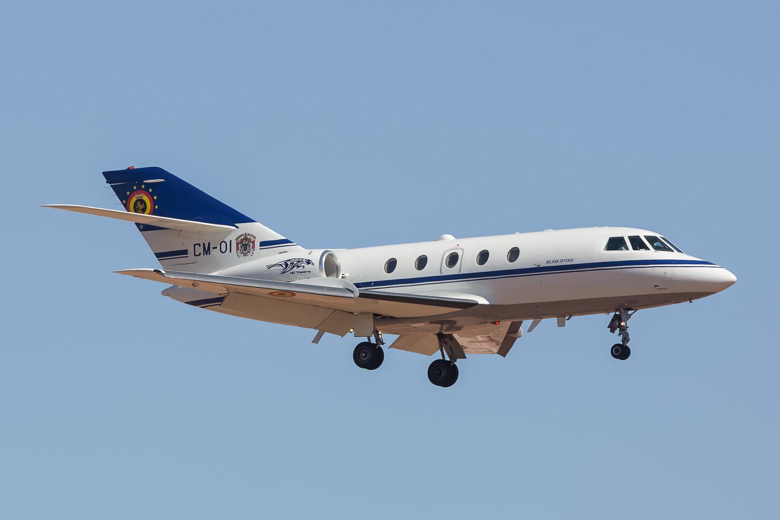 Ankunft der Delegation aus Belgien mit einer schönen alten Falcon 20.