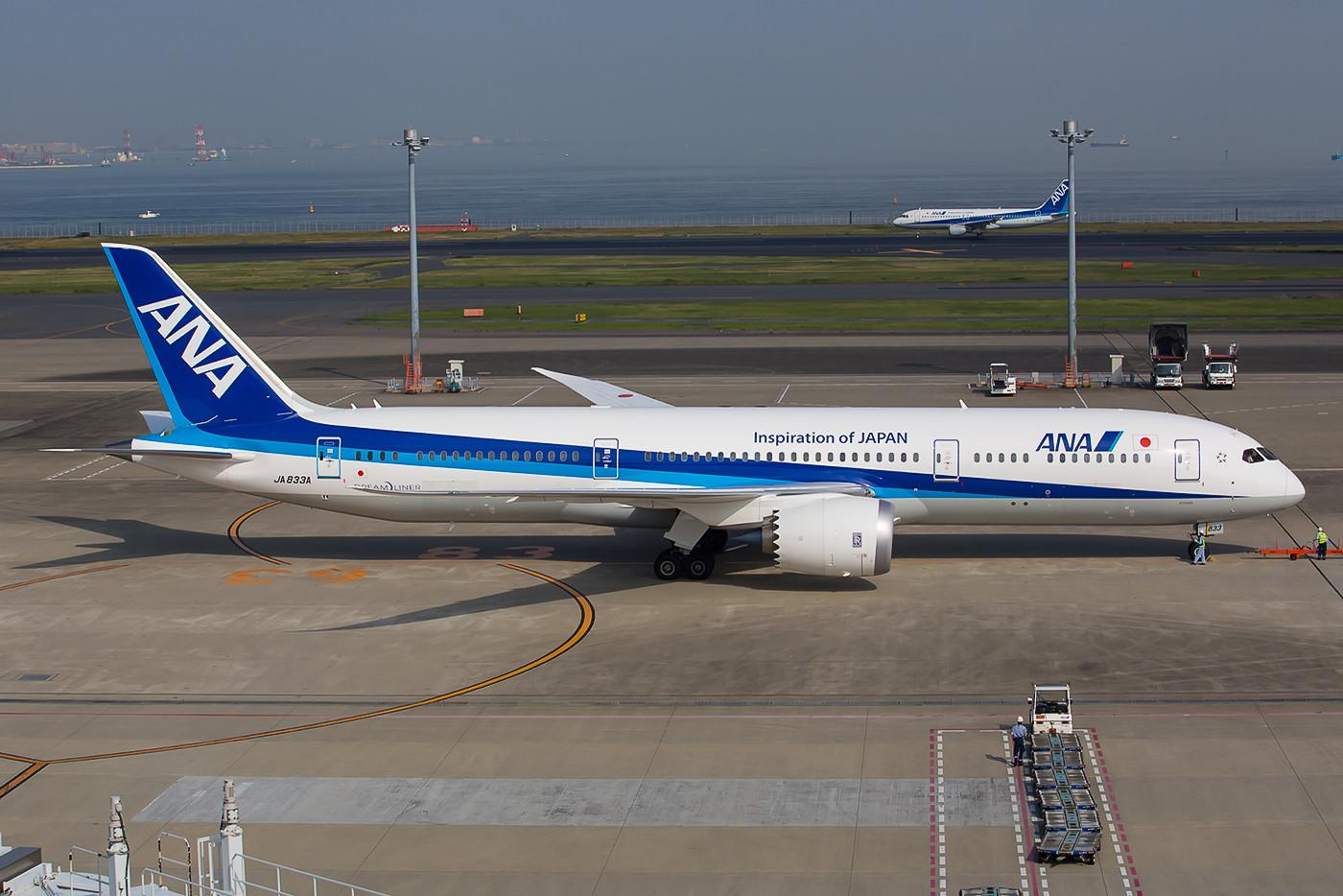 Die JA833A ist eine Boeing 787-9, ihr längerer Rumpf macht die Silhouette gefälliger.