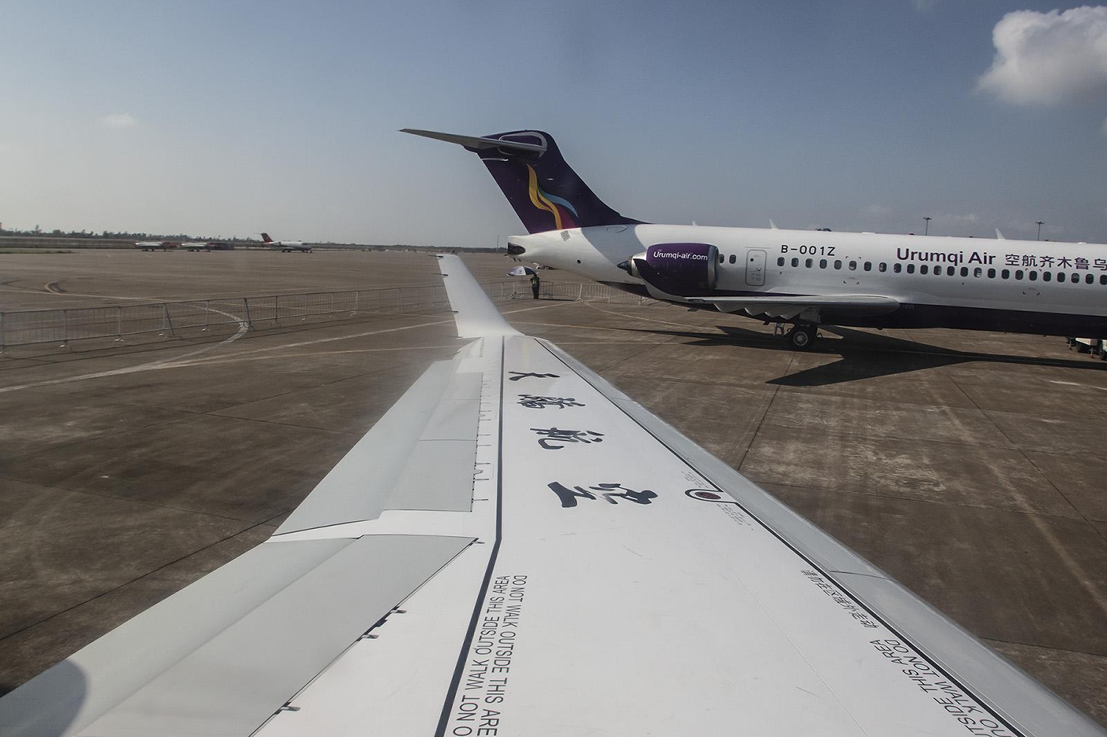 Blick aus dem Fenster, die Tragflächen wurden zusammen mit Antonov entwickelt.