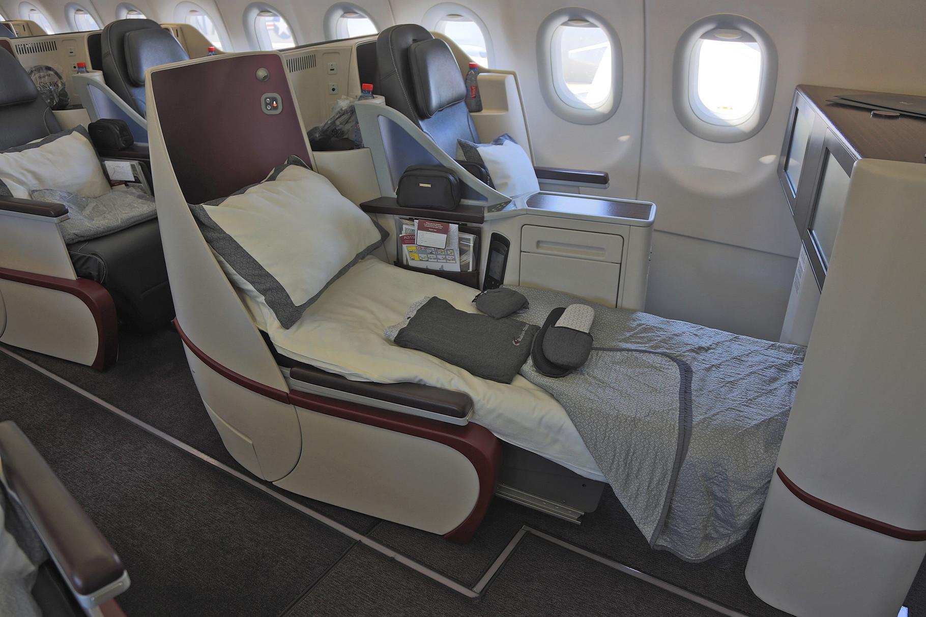 Die Maschinen haben eine Einklassenbestuhlung mit Business Class Sitzen