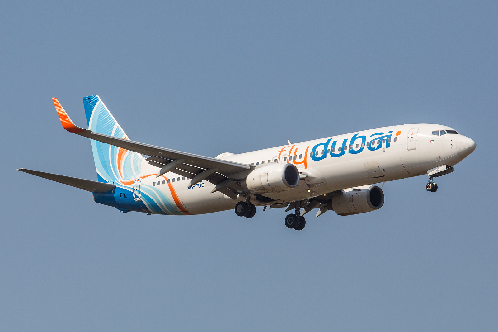 Täglich aus den UAE kommen die Boeing 737-8KN der FlyDubai.